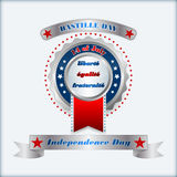 Holidays layout template with metallic badge for fourteenth July, France Independence Day Royalty Free Stock Image