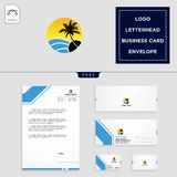 Holidays logo template and free letterhead, envelope, business card. Beach,landscape, holidays logo template vector illustration and free letterhead, envelope stock illustration