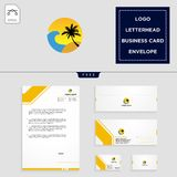 Holidays logo template and free letterhead, envelope, business card. Beach,landscape, holidays logo template vector illustration and free letterhead, envelope vector illustration