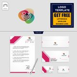 Holidays logo template and free letterhead, envelope, business card. Beach,landscape, holidays logo template vector illustration and free letterhead, envelope royalty free illustration