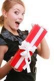 Holidays love happiness concept - girl with gift box Royalty Free Stock Photos