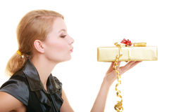 Holidays love happiness concept - girl with gift box Stock Images