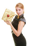 Holidays love happiness concept - girl with gift box Royalty Free Stock Photography