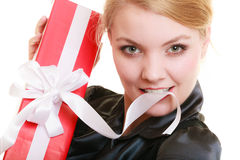 Holidays love happiness concept - girl with gift box Stock Image