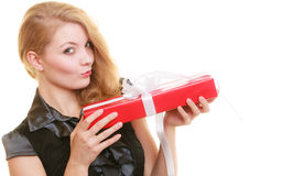 Holidays love happiness concept - girl with gift box Stock Photo