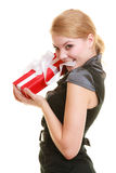 Holidays love happiness concept - girl with gift box Royalty Free Stock Photo