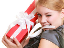 Holidays love happiness concept - girl with gift box Royalty Free Stock Images