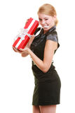Holidays love happiness concept - girl with gift box Stock Photography