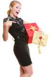 Holidays love happiness concept - girl with gift boxes Royalty Free Stock Photo