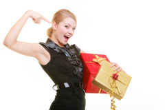 Holidays love happiness concept - girl with gift boxes Stock Image