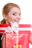 Holidays love happiness concept - girl with gift boxes Royalty Free Stock Photos