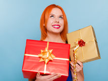 Holidays love happiness concept - girl with gift boxes Royalty Free Stock Photography