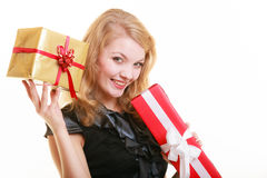 Holidays love happiness concept - girl with gift boxes Stock Images