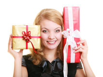 Holidays love happiness concept - girl with gift boxes Stock Photos