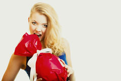 Holidays love happiness concept - girl with red gift Royalty Free Stock Photo