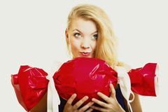 Holidays love happiness concept - girl with red gift Royalty Free Stock Photography