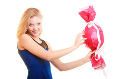 Holidays love happiness concept - girl with red gift Stock Photos