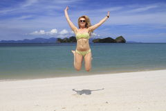 Holidays. Moment of happines on beach Stock Photo