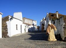 Holidays in monsaraz. Village of monsaraz with streets decorated during the time of the christmas royalty free stock photography
