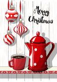 Holidays motive, Christmas decorations with red dotted coffee pot and cup, illustration Royalty Free Stock Photography