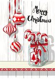 Holidays motive, Christmas decorations with vintage glass jar and candy canes, illustration Stock Photo