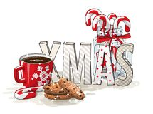 Holidays motive, letters XMAS, glass jar with candy canes, red cup of coffee and chocolate cookies, illustration Stock Images