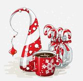 Holidays motive, red cup of coffee with abstract cone tree and glass jar with candy canes, illustration Royalty Free Stock Photos