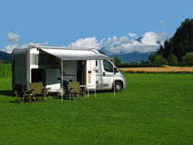 Holidays with a motor home royalty free stock photography