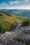 Holidays in the mountains. Man tourist in Ukraine in the mountains Royalty Free Stock Image