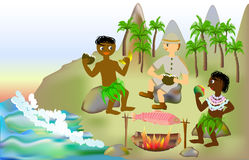 Holidays with natives on a tropical island Royalty Free Stock Images
