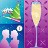 Holidays - New Year. New Year's Eve montage - Party items, Champagne and a couple kissing at midnight Stock Illustration