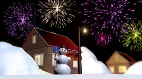 Snowman near the house. Stock Images