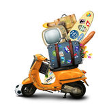 Holidays, orange scooter Royalty Free Stock Photos