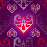 Holidays ornament pattern with valentine hearts, v Stock Photo