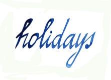 holidays Palabra del azul de la acuarela ilustración del vector