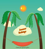 Holidays with palms. And hammock and text card stock illustration