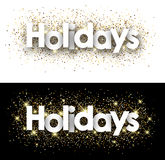 Holidays paper banners. Holidays paper banners set with shining sand. Vector illustration Royalty Free Stock Photography