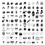 100 holidays and party icons. Set isolated on white background royalty free illustration