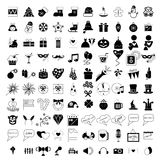 100 holidays and party icons. Set on white background stock illustration
