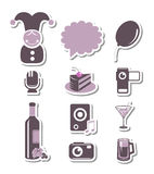 Holidays and party paper icons Stock Photos