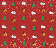 Holidays pattern. Winter background with bunnies, trees, houses. Vector pattern background with christmas trees, bunnies, houses Royalty Free Stock Image