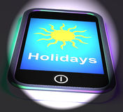 Holidays On Phone Displays Vacation Leave Or Break Stock Photo