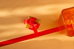 Small golden box with gift tied red bow. Holidays, present concept. Small golden box with gift tied decorative bow and empty vase Royalty Free Stock Photos