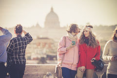 Holidays in Rome, Italy. Tourists on the Pincio terrace royalty free stock photos