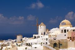 Holidays on Satorini. Greek island Santorini with its white and blue stock image