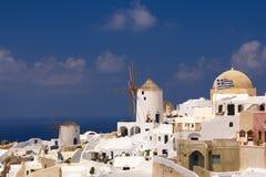 Holidays on Satorini. Greek island Santorini with its white and blue Stock Image