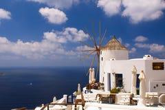 Holidays on Satorini. Greek island Santorini with its white and blue Stock Photography