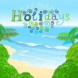 01 Holidays sea. The illustration of beautiful summer background with blue sae and palms. Vector image Stock Photography