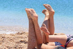 Holidays at sea. Sun, sunbathing and swimming Stock Photography