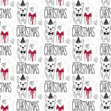 Holidays seamless pattern with funny dog. Happy new year pets. Merry christmas background. Winter design.Cartoon animals stock illustration